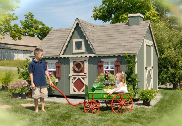 Victorian Backyard Playhouse :  Playhouses & Playsets > Victorian Wooden Outdoor Playhouse Kit  8