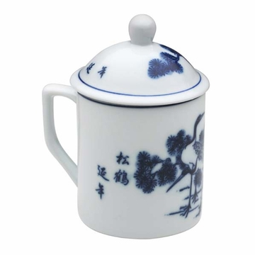 Chinese Crane Mug with Lid