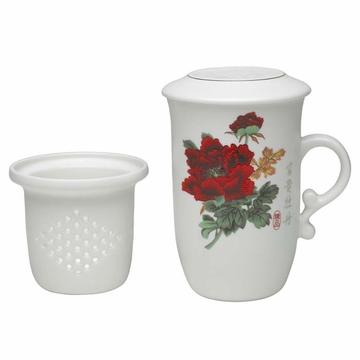 High Quality Ceramic Prosperity Peony Flower Filtering Tea Mug