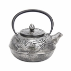 Large Silver Dragon Cast Iron Teapot