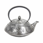 Large Silver Warriors Cast Iron Teapot