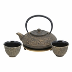Black with Gold Dragon Phoenix Cast Iron Tea Set