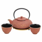 Red with Gold Dragon Phoenix Cast Iron Tea Set