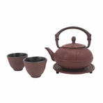 Red Plum Blossom Cast Iron Set