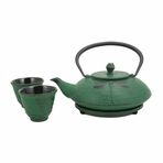 Green Dragonfly Cast Iron Tea Set