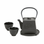 Black Peony Flower Iron Cast Tea Set