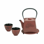 Red Peony Flower Iron Cast Tea Set