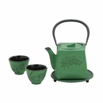 Green Peony Flower Iron Cast Tea Set