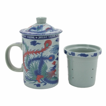 Phoenix Dragon Filtering Tea Mug