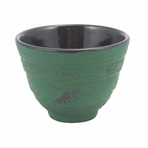 Green Crane Iron Cast Teacup