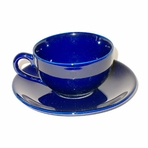 Blue Teacup with Saucer