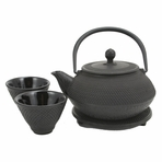 Black Nail Head Cast Iron Tea Set
