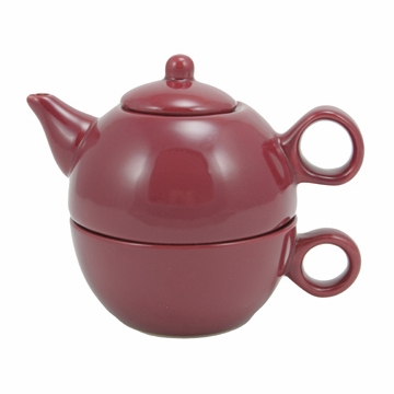 Burgundy Teapot with Cup