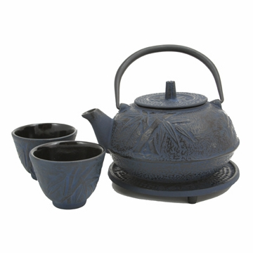 Blue Bamboo Cast Iron Tea Set