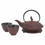 Red Crane Iron Cast Tea Set