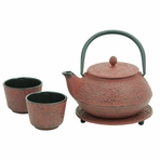 Red Pine Needle Cast Iron Tea Set