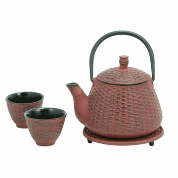 Red Bamboo Basket Cast Iron Tea Set