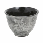 Silver Japanese Koi Cast Iron Teacup