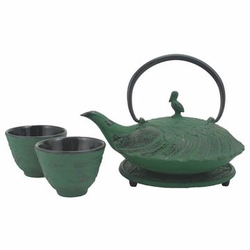 Green Crane Iron Cast Tea Set