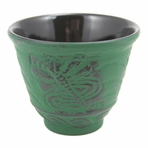 Green Dragonfly Cast Iron Teacup