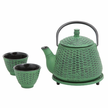 Green Bamboo Basket Cast Iron Tea Set