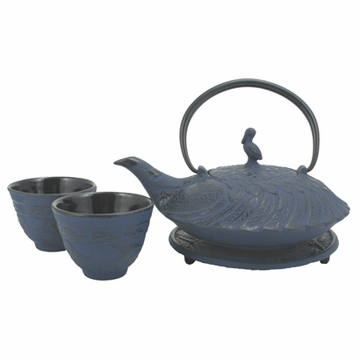 Blue Crane Iron Cast Tea Set