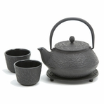 Black Pine Needle Cast Iron Tea Set