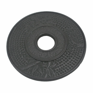 Large Black Bamboo Cast Iron Trivet