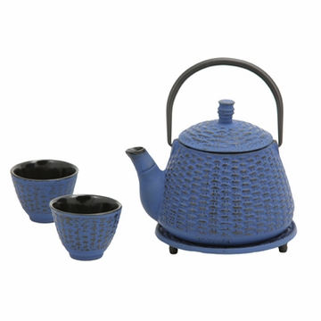 Blue Bamboo Basket Cast Iron Tea Set