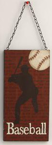 Wooden Baseball Hanging Wall Plaque
