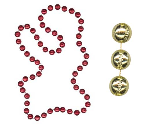 "Baseball Beads<br>38"" Necklaces<br>6 Colors Available!"
