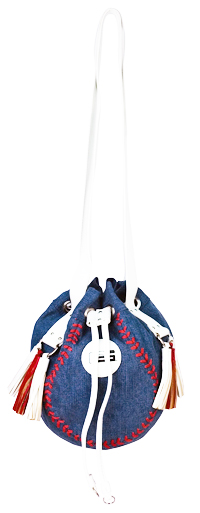Baseball Shaped Denim Drawstring Shoulder Bag<br>ONLY 1 LEFT!
