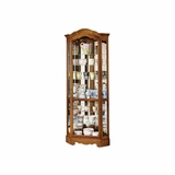 Jamestown II Corner Curio Cabinet in Oak Yorkshire - Howard Miller
