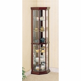 Corner Curio Cabinet in Cherry - Coaster