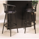 29 Swivel Bar Stool with Back (Set of 2) in Black - Coaster