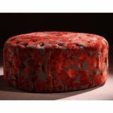 5005 Victoria 40 Round Ottoman in Red Velvet Fabric - Armen Living - LC5005OTRE