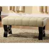 5012 Central Park 36 Tufted Ottoman in Cream Leather - Armen Living - LC5012BEBCCR36