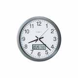 Chronicle Round Wall Clock in Metallic Gray - Howard Miller