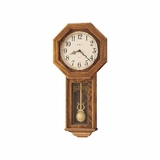 Ansley Chiming Wall Clock in Golden Oak - Howard Miller