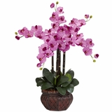 Phalaenopsis with Decorative Vase Silk Flower Arrangement - Nearly Natural - 1211-MA