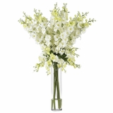 Delphinium Silk Flower Arrangement - Nearly Natural - 1224-WH