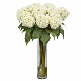 Hydrangea Silk Flower Arrangement - Nearly Natural - 1221-WH