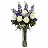 Rose, Delphinium and Lilac Silk Flower Arrangement - Nearly Natural - 1220-PP