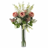 Rose, Delphinium and Lilac Silk Flower Arrangement - Nearly Natural - 1220-PK