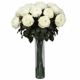 Fancy Rose Silk Flower Arrangement - Nearly Natural - 1219-WH