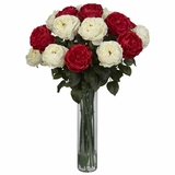Fancy Rose Silk Flower Arrangement - Nearly Natural - 1219-RW