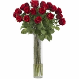 Rosebud with Cylinder Silk Flower Arrangement - Nearly Natural - 1218
