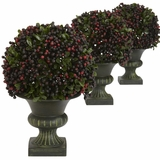 Pepper Berry Ball Topiary (Set of 3) - Nearly Natural - 4126