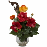 Hibiscus and Ranunculus with Fluted Bowl Silk Flower Arrangement - Nearly Natural - 1287