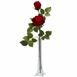 Roses with Tall Bud Vase Silk Flower Arrangement - Nearly Natural - 1283
